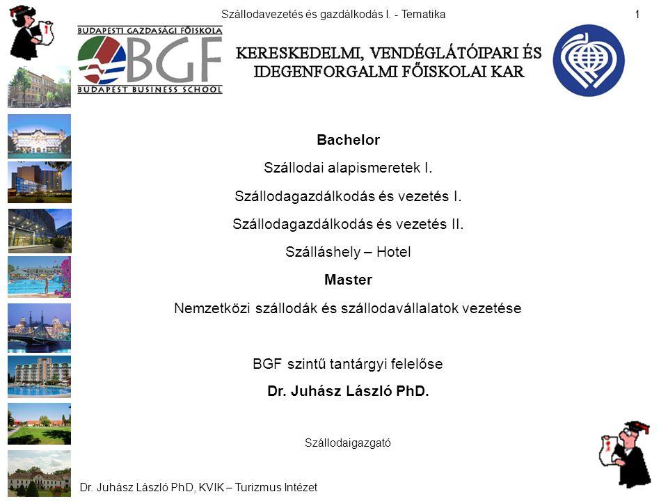 Szállodavezetés és gazdálkodás I.- Tematika Dr. Juhász László PhD, KVIK – Turizmus Intézet 12 II.