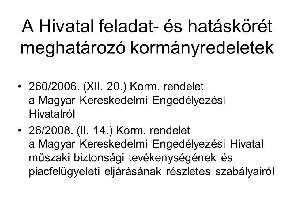 A Hivatal feladat- és hatáskörét meghatározó kormányredeletek •260/2006.