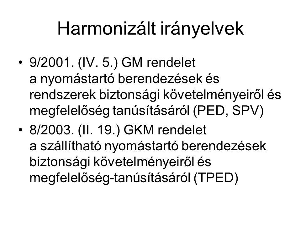 Harmonizált irányelvek •9/2001.(IV.
