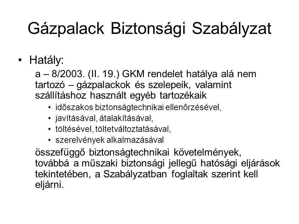 Gázpalack Biztonsági Szabályzat •Hatály: a – 8/2003.