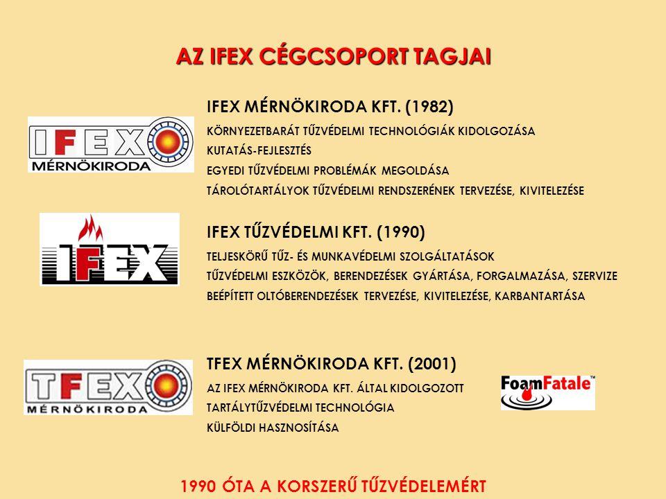 A A AZ IFEX CÉGCSOPORT TAGJAI IFEX MÉRNÖKIRODA KFT. (1982) KÖRNYEZETBARÁT TŰZVÉDELMI TECHNOLÓGIÁK KIDOLGOZÁSA KUTATÁS-FEJLESZTÉS EGYEDI TŰZVÉDELMI PRO
