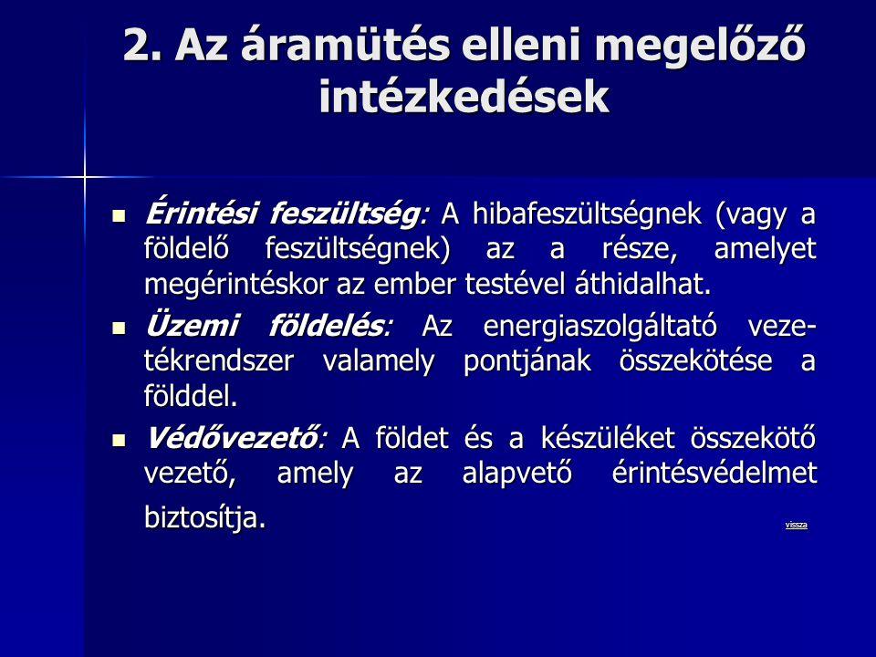 2. Az áramütés elleni megelőző intézkedések  Érintési feszültség: A hibafeszültségnek (vagy a földelő feszültségnek) az a része, amelyet megérintésko