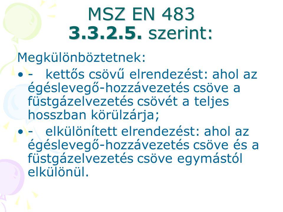 MSZ EN 483 3.3.2.5. szerint: Megkülönböztetnek: •-kettős csövű elrendezést: ahol az égéslevegő-hozzávezetés csöve a füstgázelvezetés csövét a teljes h