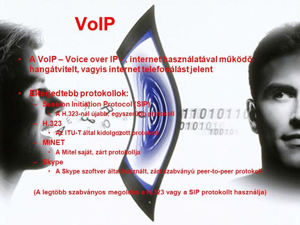 VoIP •A VoIP – Voice over IP -, internet használatával működő hangátvitelt, vagyis internet telefonálást jelent •Elterjedtebb protokollok: –Session In