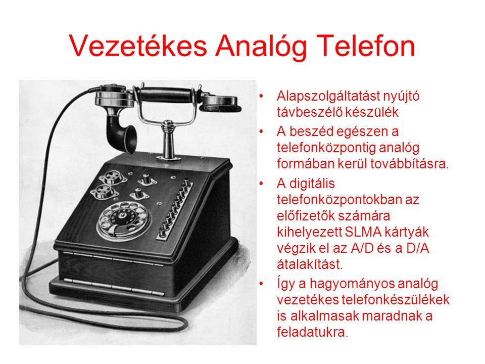 Vezetékes Analóg Telefon •Alapszolgáltatást nyújtó távbeszélő készülék •A beszéd egészen a telefonközpontig analóg formában kerül továbbításra. •A dig
