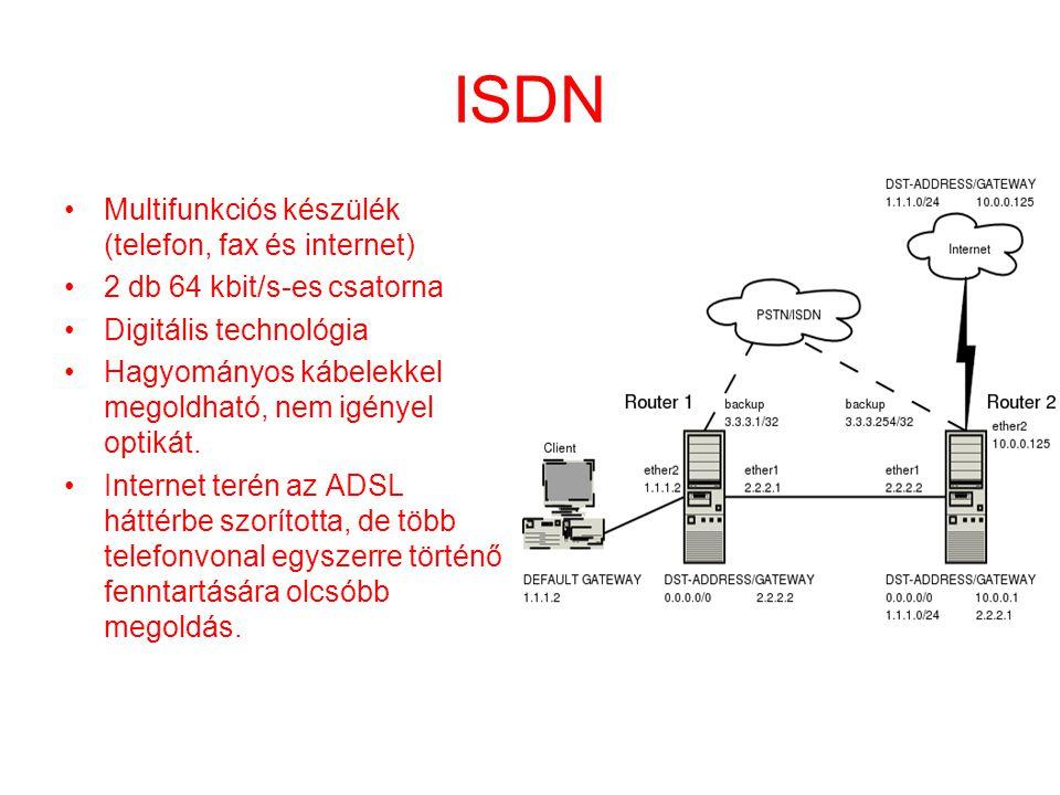 ISDN •Multifunkciós készülék (telefon, fax és internet) •2 db 64 kbit/s-es csatorna •Digitális technológia •Hagyományos kábelekkel megoldható, nem igé