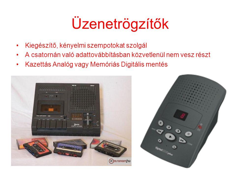 Fax (Facsimile ) •Alapszolgáltatást nyújtó készülék •Telefonvonal szükséges a továbbításához •Group 3 szabvány (digitális) •728 oszlop x 1145 sor felbontás •Tömörítés (módosított Huffman kód) •Minimum sebesség: 14.4 kbit/s •Maximum Sebesség: 33,6 kbit/s •Az E-mail fokozatosan háttérbe szorítja