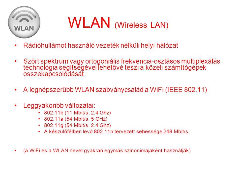 WLAN (Wireless LAN) •Rádióhullámot használó vezeték nélküli helyi hálózat •Szórt spektrum vagy ortogoniális frekvencia-osztásos multiplexálás technoló