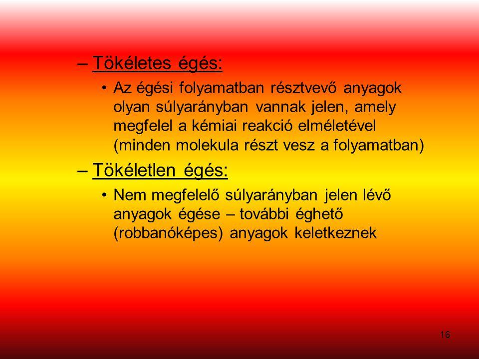 16 –Tökéletes égés: •Az égési folyamatban résztvevő anyagok olyan súlyarányban vannak jelen, amely megfelel a kémiai reakció elméletével (minden molekula részt vesz a folyamatban) –Tökéletlen égés: •Nem megfelelő súlyarányban jelen lévő anyagok égése – további éghető (robbanóképes) anyagok keletkeznek