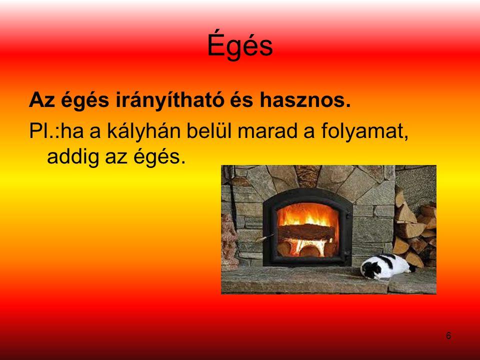 17 –Kevert (kinetikus) égés: •Az éghető gázok (gőzök) a szükséges arányban még a begyulladás előtt összekeverednek (az égés gyorsan, robbanásszerűen végbemegy – nagy hőfejlődés) –Diffúz égés: •Az éghető anyag gőzei, gázai a hő hatására távoznak a felületről és a felett beindul a reakció (gyertya).