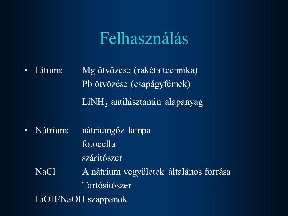 Felhasználás •Lítium: Mg ötvözése (rakéta technika) Pb ötvözése (csapágyfémek) LiNH 2 antihisztamin alapanyag •Nátrium: nátriumgőz lámpa fotocella szá