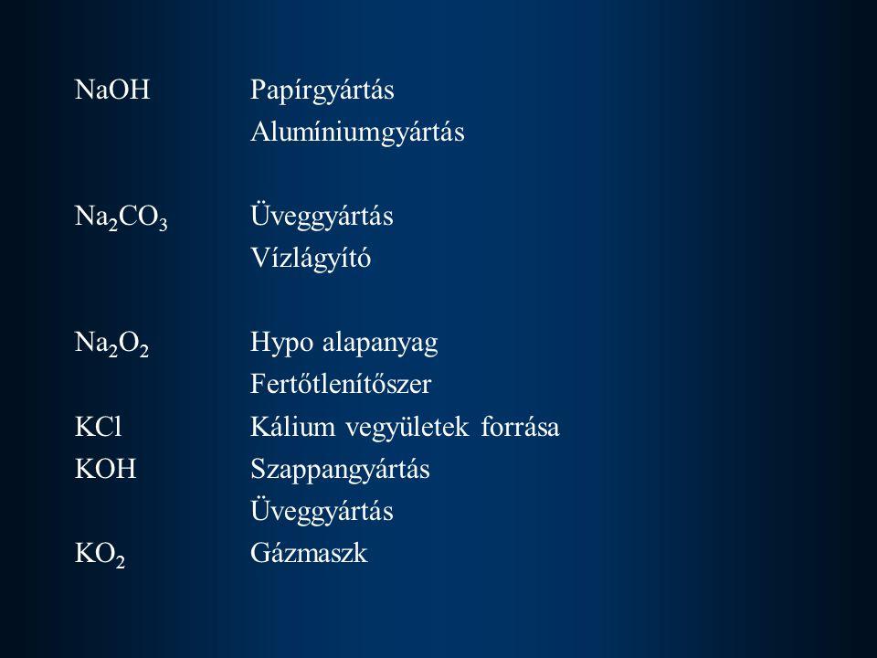 NaOHPapírgyártás Alumíniumgyártás Na 2 CO 3 Üveggyártás Vízlágyító Na 2 O 2 Hypo alapanyag Fertőtlenítőszer KCl Kálium vegyületek forrása KOHSzappangy