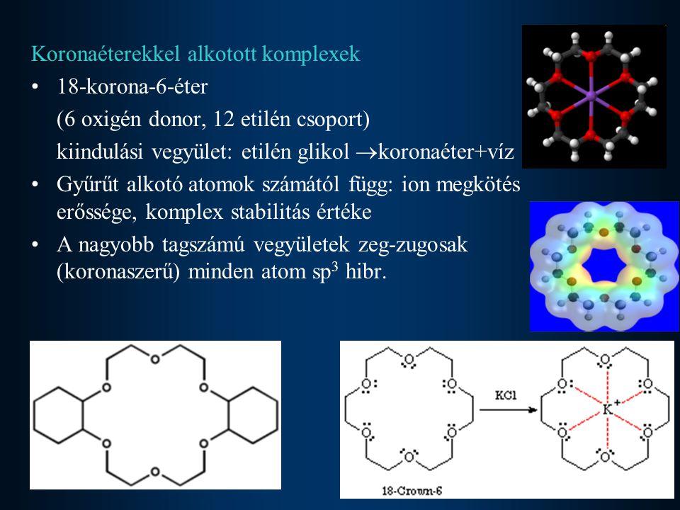 Koronaéterekkel alkotott komplexek •18-korona-6-éter (6 oxigén donor, 12 etilén csoport) kiindulási vegyület: etilén glikol  koronaéter+víz •Gyűrűt a