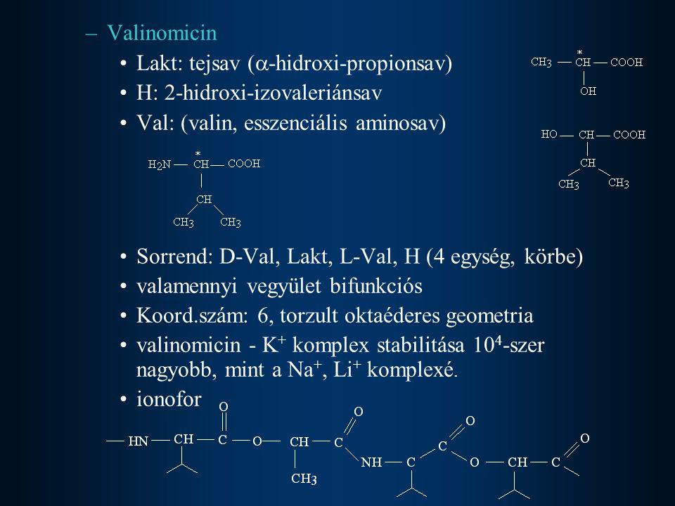 –Valinomicin •Lakt: tejsav (  -hidroxi-propionsav) •H: 2-hidroxi-izovaleriánsav •Val: (valin, esszenciális aminosav) •Sorrend: D-Val, Lakt, L-Val, H