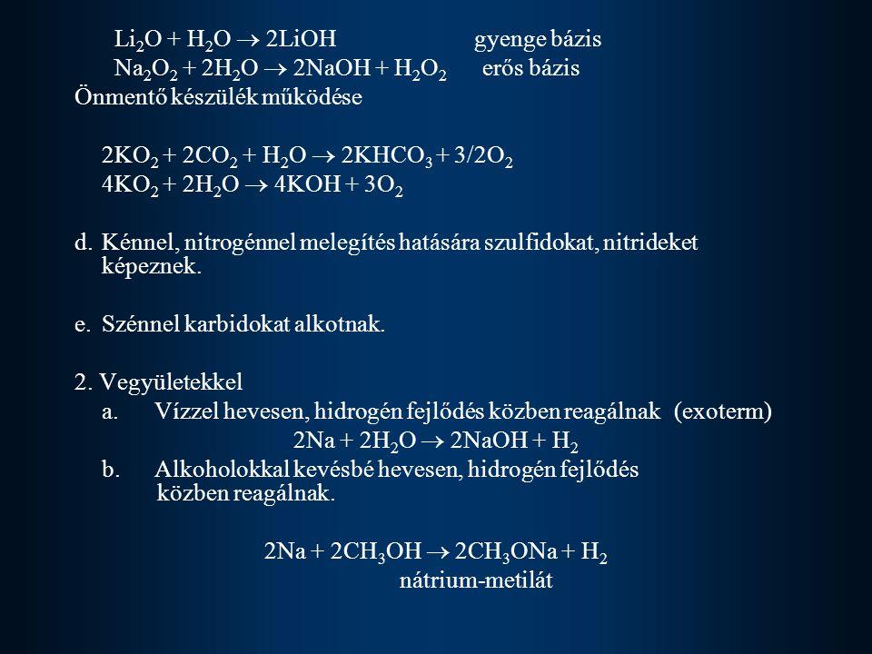 Li 2 O + H 2 O  2LiOH gyenge bázis Na 2 O 2 + 2H 2 O  2NaOH + H 2 O 2 erős bázis Önmentő készülék működése 2KO 2 + 2CO 2 + H 2 O  2KHCO 3 + 3/2O 2