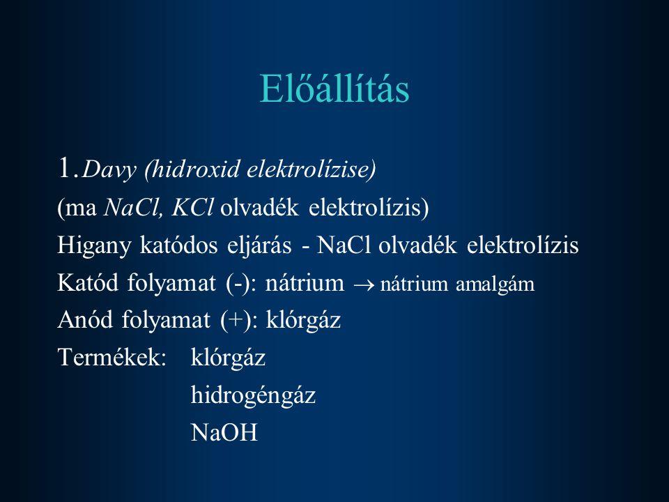 Előállítás 1. Davy (hidroxid elektrolízise) (ma NaCl, KCl olvadék elektrolízis) Higany katódos eljárás - NaCl olvadék elektrolízis Katód folyamat (-):