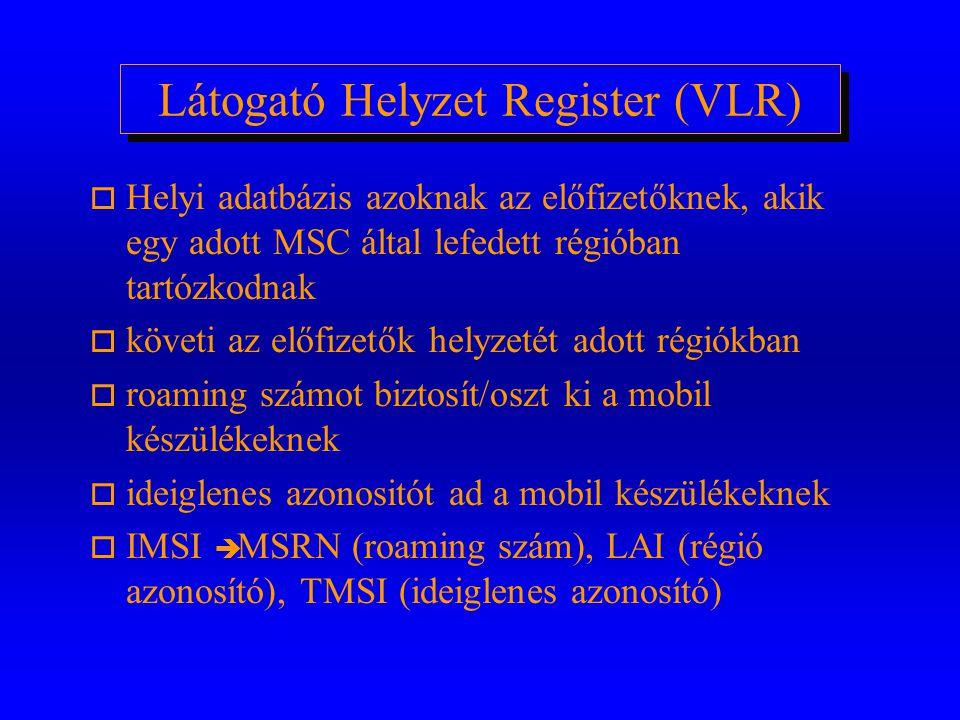 Honos Regiszter (HLR) o előfizetéshez tartozó előfizetői (titkos) adatokat és (az egyes szolgáltatásokhoz) hozzáférési jogokat kezel/tárol o követi az