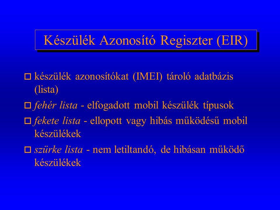Azonosító Központ (AuC) o Előfizetői azonosítók adatbázisa o azonosító adatok létrehozása/módosítása o azonosító algoritmusok (A3,A5,A8) adminisztrálá