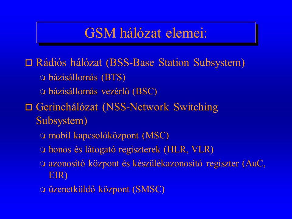 GSM hálózat elemei: o Rádiós hálózat (BSS-Base Station Subsystem) m bázisállomás (BTS) m bázisállomás vezérlő (BSC) o Gerinchálózat (NSS-Network Switching Subsystem) m mobil kapcsolóközpont (MSC) m honos és látogató regiszterek (HLR, VLR) m azonosító központ és készülékazonosító regiszter (AuC, EIR) m üzenetküldő központ (SMSC)