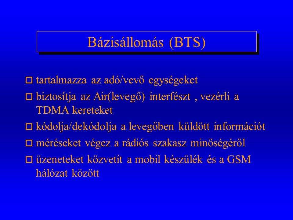 GSM hálózat elemei: o Rádiós hálózat (BSS-Base Station Subsystem) m bázisállomás (BTS) m bázisállomás vezérlő (BSC) o Gerinchálózat (NSS-Network Switc