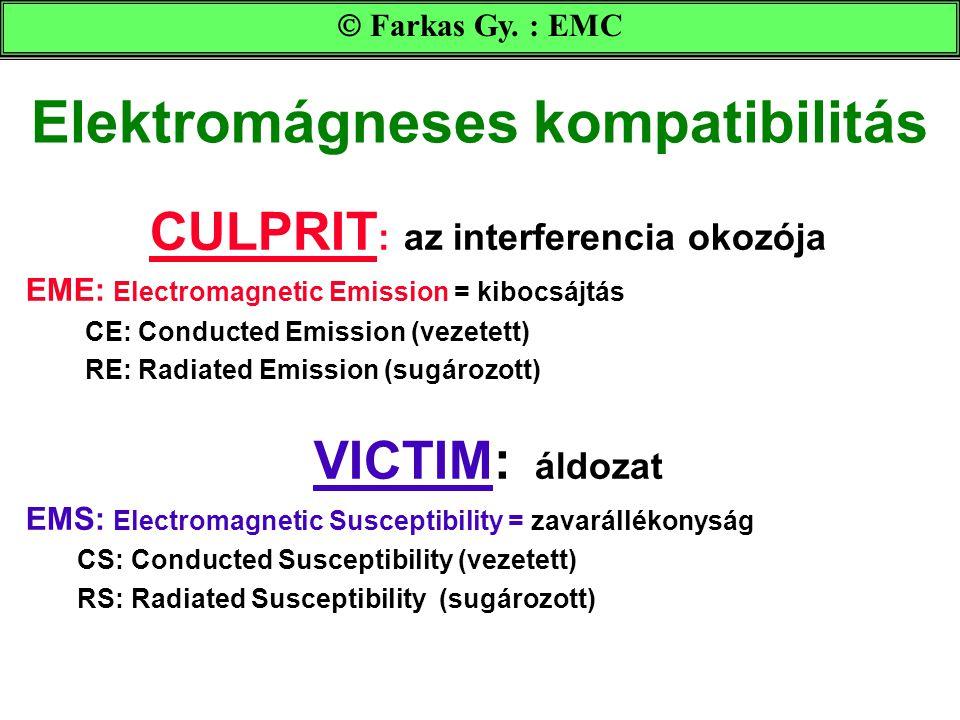 Elektromágneses kompatibilitás CULPRIT : az interferencia okozója EME: Electromagnetic Emission = kibocsájtás CE: Conducted Emission (vezetett) RE: Ra