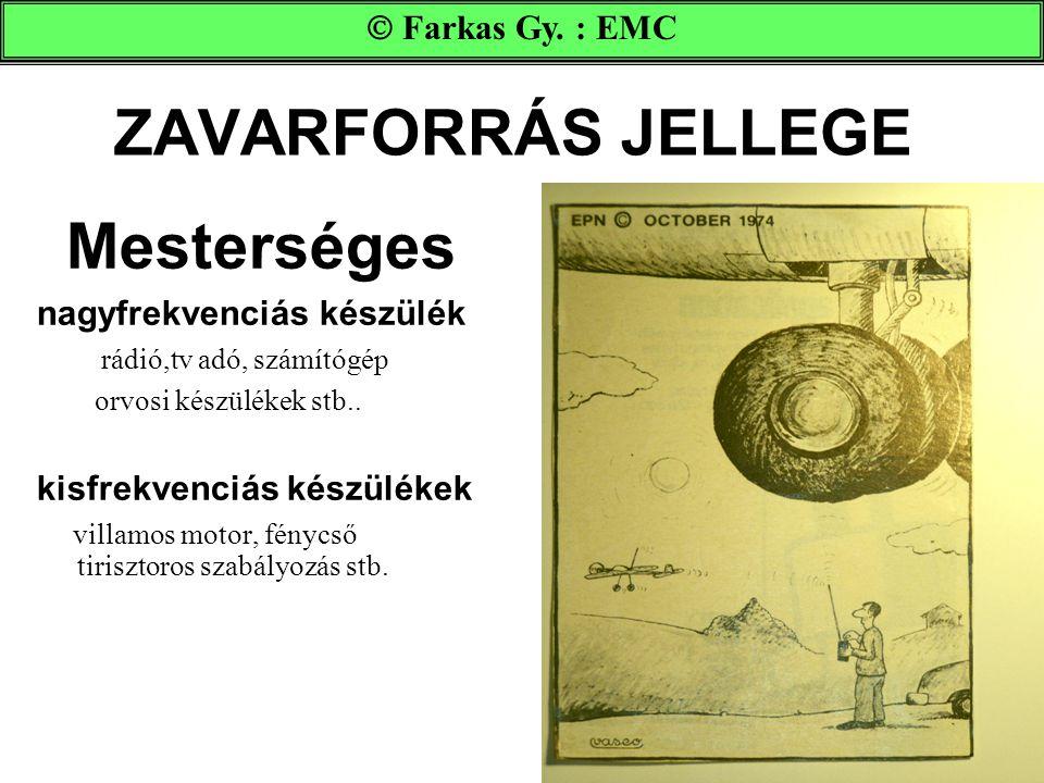 ZAVARFORRÁS JELLEGE Mesterséges nagyfrekvenciás készülék rádió,tv adó, számítógép orvosi készülékek stb.. kisfrekvenciás készülékek villamos motor, fé