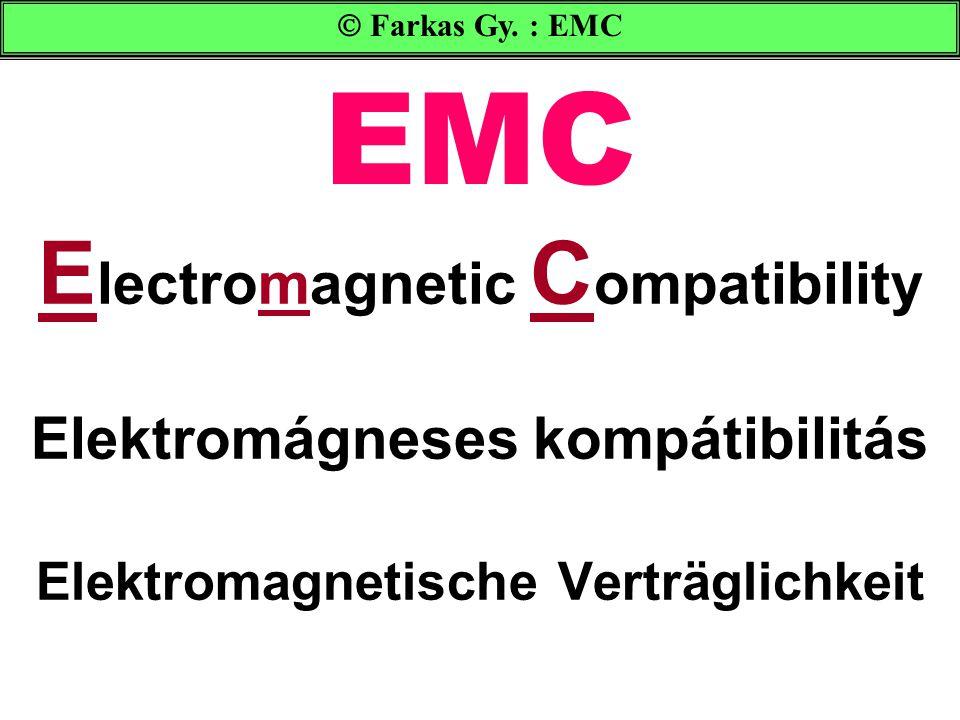 Elektromágneses kompatibilitás CULPRIT : az interferencia okozója EME: Electromagnetic Emission = kibocsájtás CE: Conducted Emission (vezetett) RE: Radiated Emission (sugározott) VICTIM: áldozat EMS: Electromagnetic Susceptibility = zavarállékonyság CS: Conducted Susceptibility (vezetett) RS: Radiated Susceptibility (sugározott)  Farkas Gy.