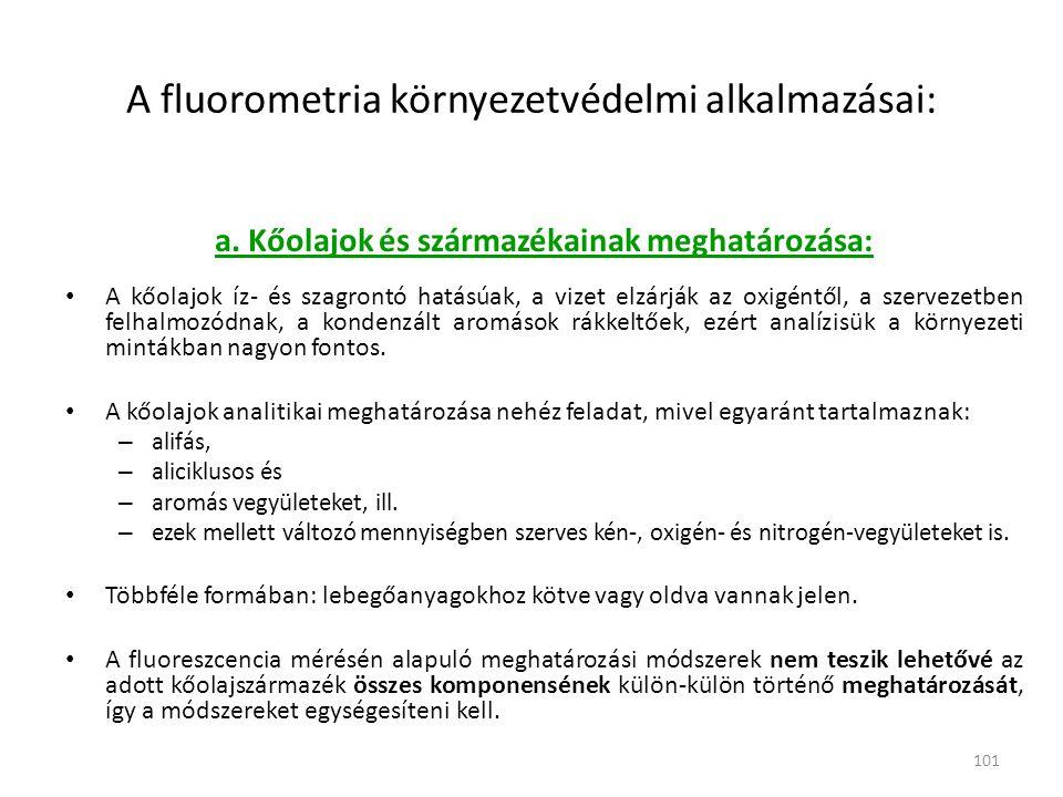 101 A fluorometria környezetvédelmi alkalmazásai: a. Kőolajok és származékainak meghatározása: • A kőolajok íz- és szagrontó hatásúak, a vizet elzárjá