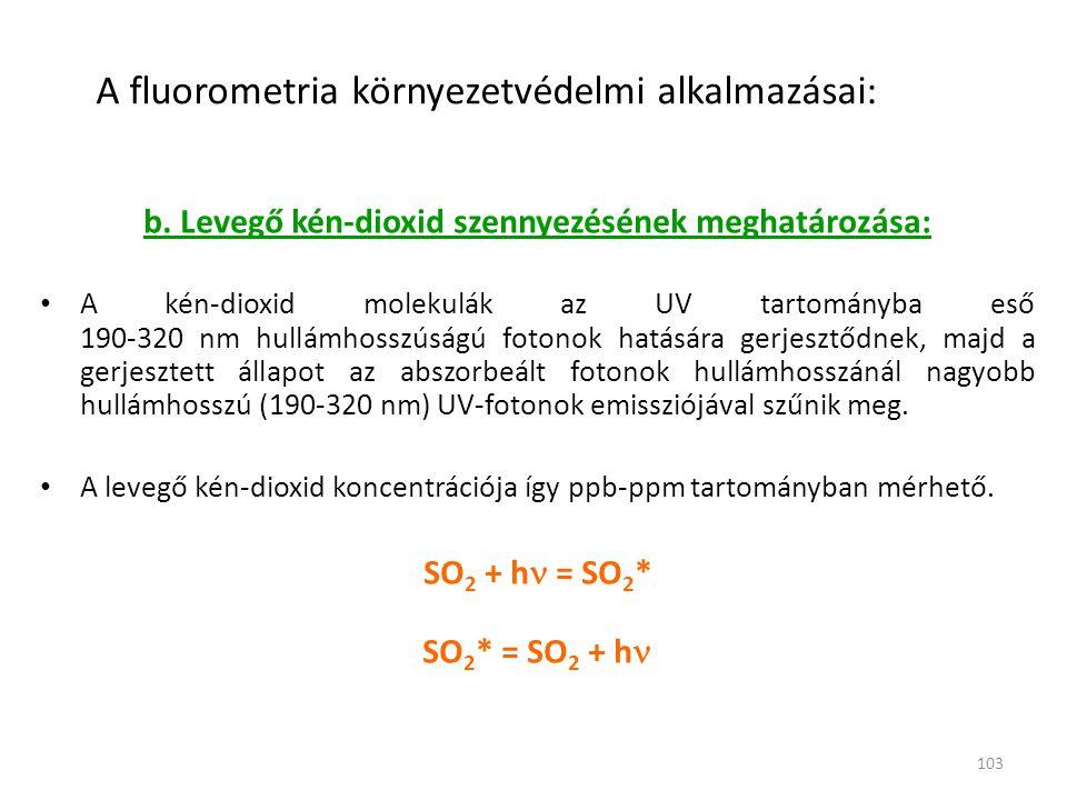 103 A fluorometria környezetvédelmi alkalmazásai: b. Levegő kén-dioxid szennyezésének meghatározása: • A kén-dioxid molekulák az UV tartományba eső 19