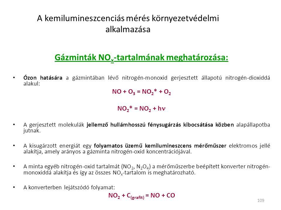 109 A kemilumineszcenciás mérés környezetvédelmi alkalmazása Gázminták NO x -tartalmának meghatározása: • Ózon hatására a gázmintában lévő nitrogén-monoxid gerjesztett állapotú nitrogén-dioxiddá alakul: NO + O 3 = NO 2 * + O 2 NO 2 * = NO 2 + h  • A gerjesztett molekulák jellemző hullámhosszú fénysugárzás kibocsátása közben alapállapotba jutnak.