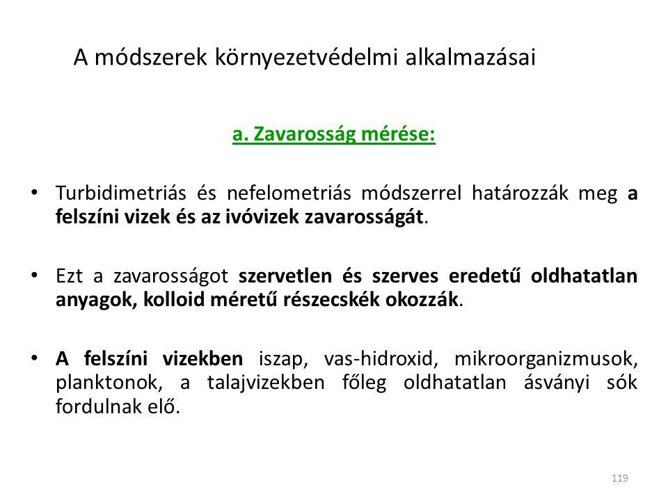 119 A módszerek környezetvédelmi alkalmazásai a.