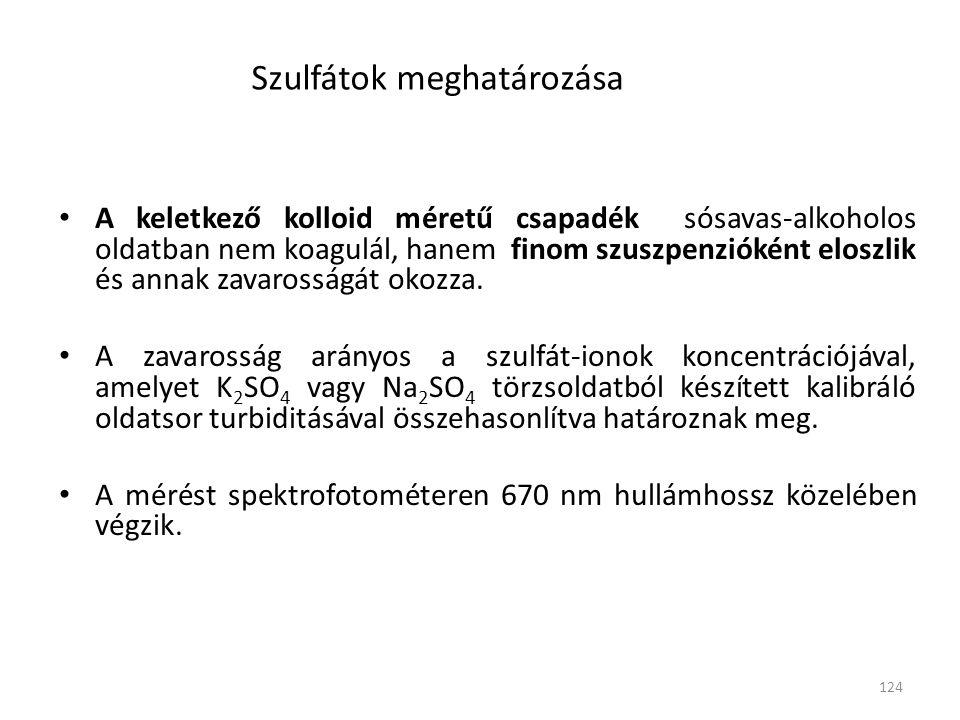 124 Szulfátok meghatározása • A keletkező kolloid méretű csapadék sósavas-alkoholos oldatban nem koagulál, hanem finom szuszpenzióként eloszlik és annak zavarosságát okozza.