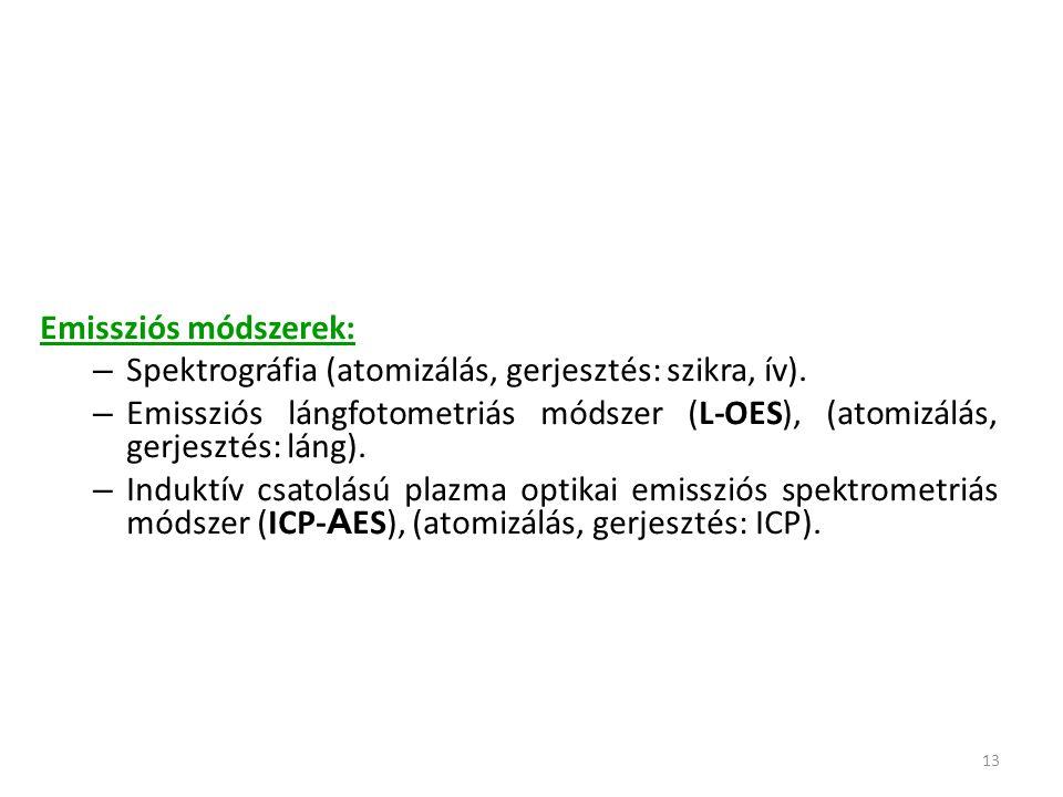 13 Emissziós módszerek: – Spektrográfia (atomizálás, gerjesztés: szikra, ív). – Emissziós lángfotometriás módszer (L-OES), (atomizálás, gerjesztés: lá