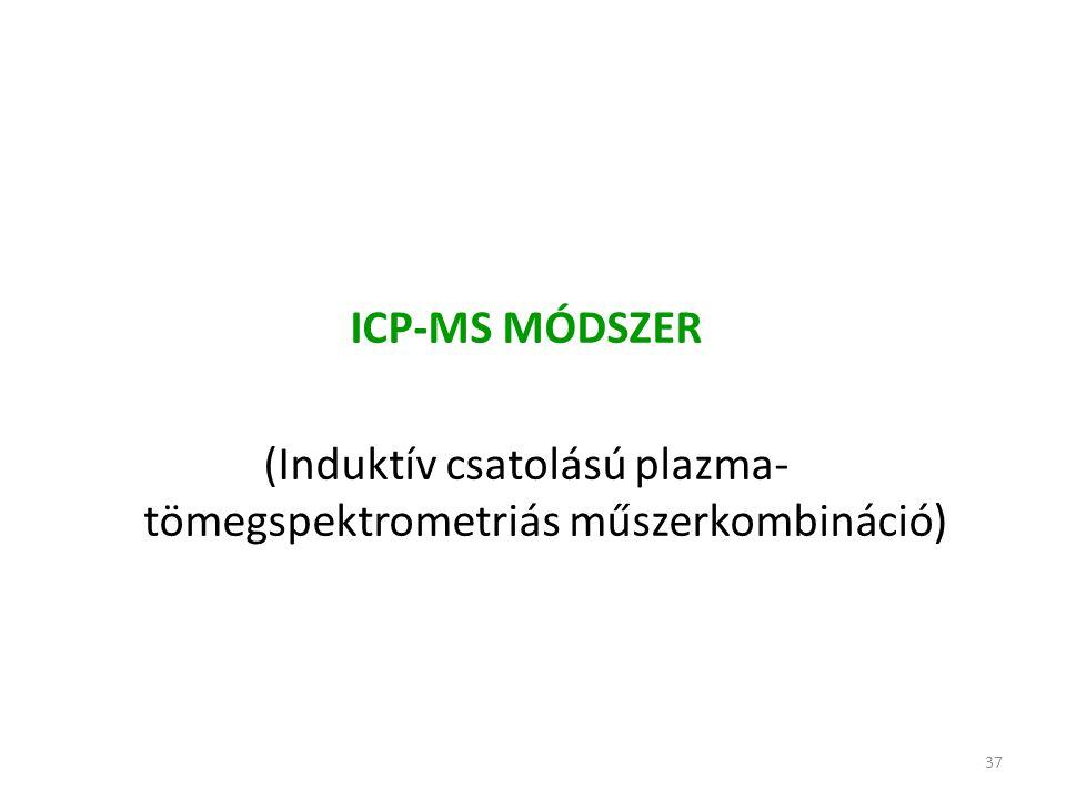 37 ICP-MS MÓDSZER (Induktív csatolású plazma- tömegspektrometriás műszerkombináció)