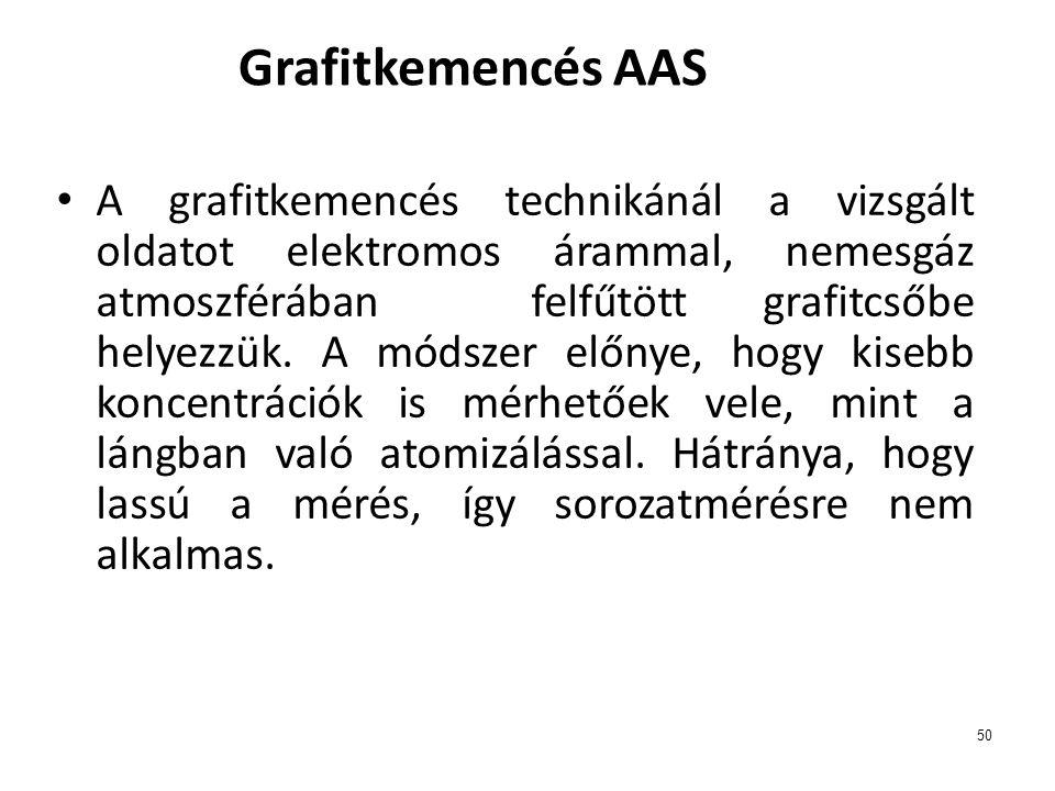 50 Grafitkemencés AAS • A grafitkemencés technikánál a vizsgált oldatot elektromos árammal, nemesgáz atmoszférában felfűtött grafitcsőbe helyezzük. A
