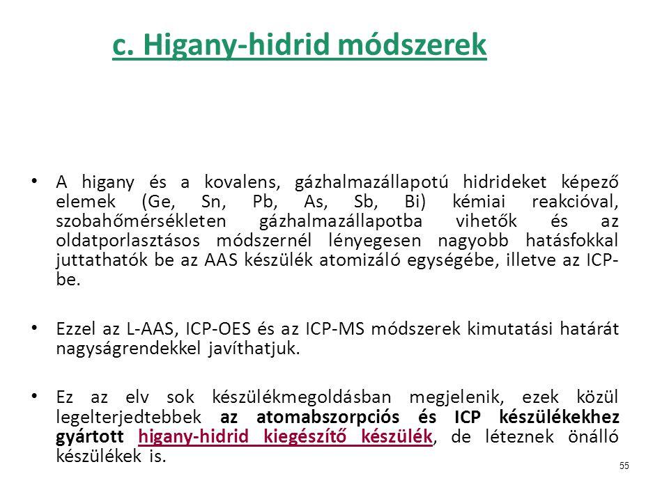 55 c. Higany-hidrid módszerek • A higany és a kovalens, gázhalmazállapotú hidrideket képező elemek (Ge, Sn, Pb, As, Sb, Bi) kémiai reakcióval, szobahő