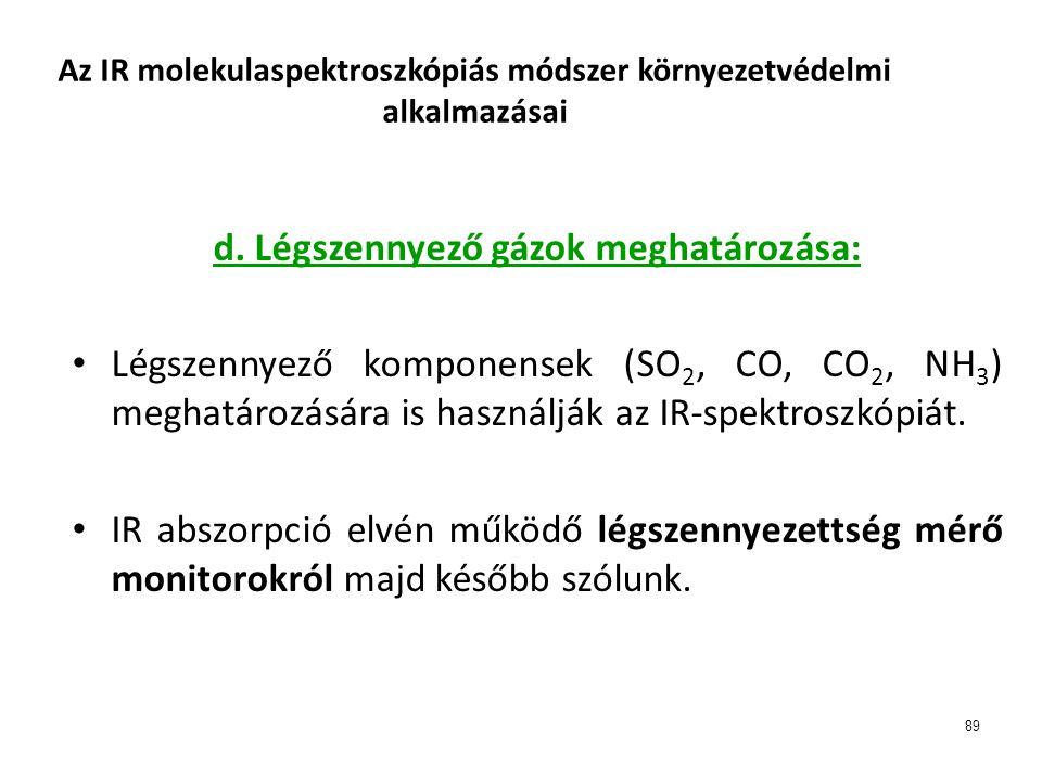 89 Az IR molekulaspektroszkópiás módszer környezetvédelmi alkalmazásai d. Légszennyező gázok meghatározása: • Légszennyező komponensek (SO 2, CO, CO 2