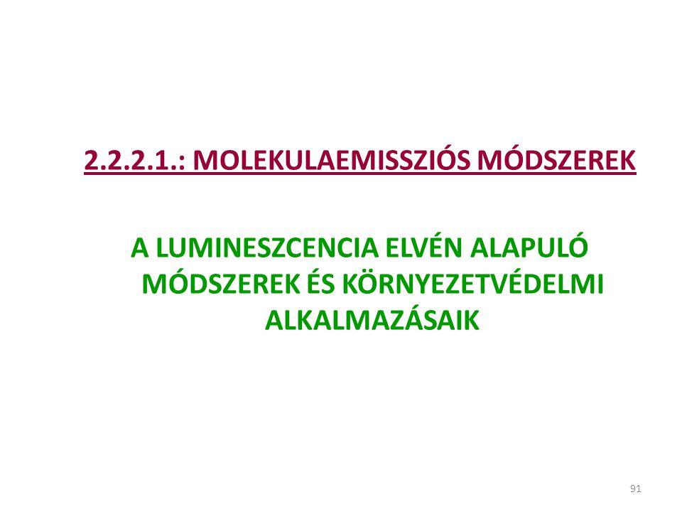 91 2.2.2.1.: MOLEKULAEMISSZIÓS MÓDSZEREK A LUMINESZCENCIA ELVÉN ALAPULÓ MÓDSZEREK ÉS KÖRNYEZETVÉDELMI ALKALMAZÁSAIK