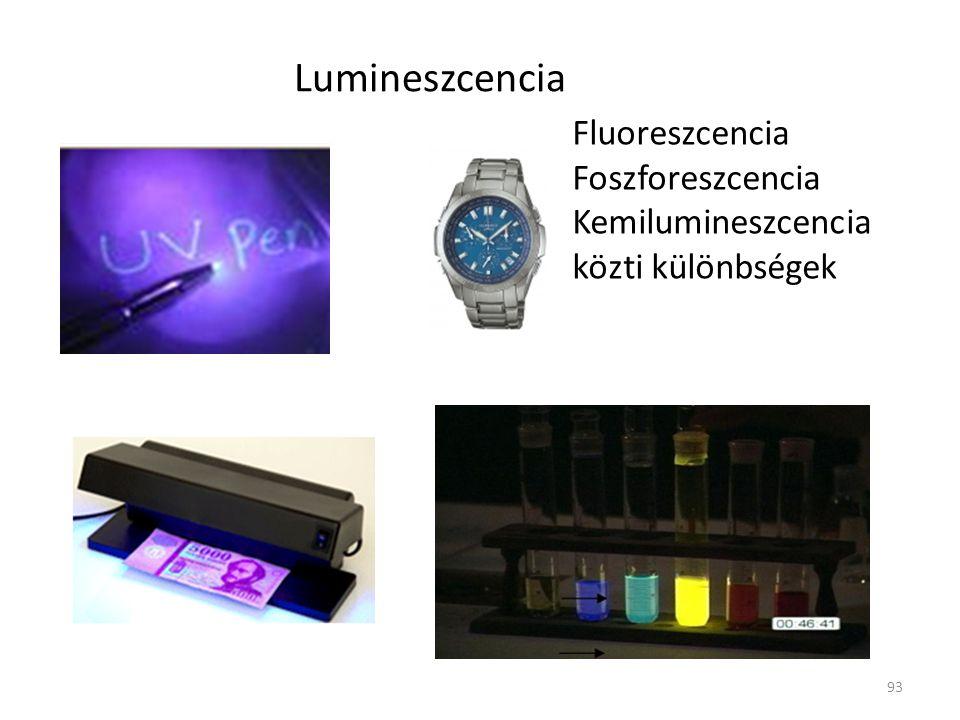 93 Lumineszcencia Fluoreszcencia Foszforeszcencia Kemilumineszcencia közti különbségek