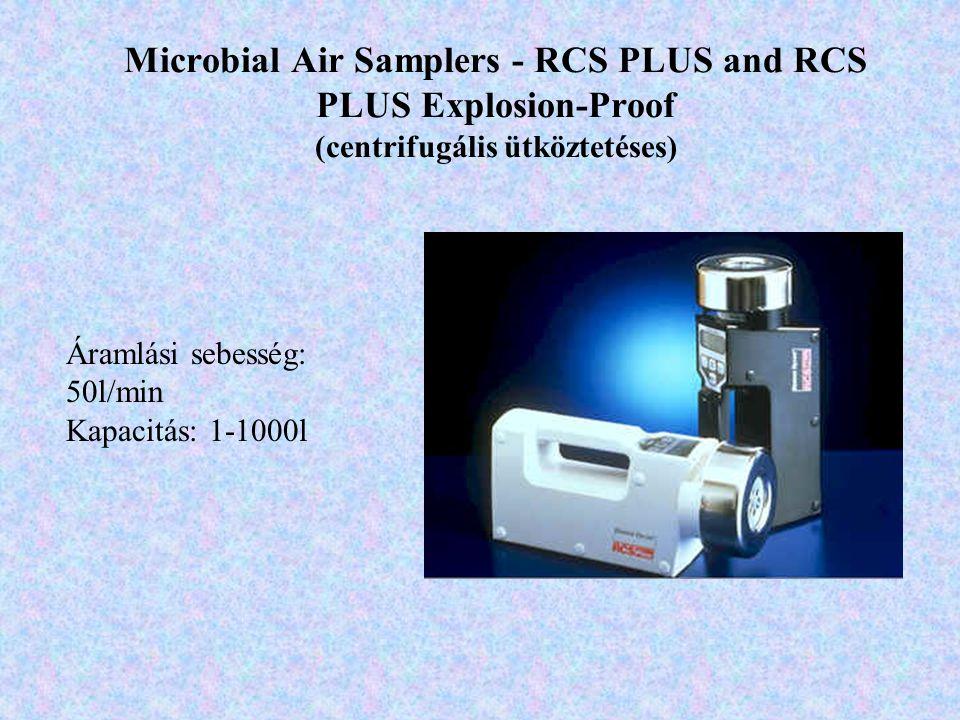 Microbial Air Samplers - RCS PLUS and RCS PLUS Explosion-Proof (centrifugális ütköztetéses) Áramlási sebesség: 50l/min Kapacitás: 1-1000l