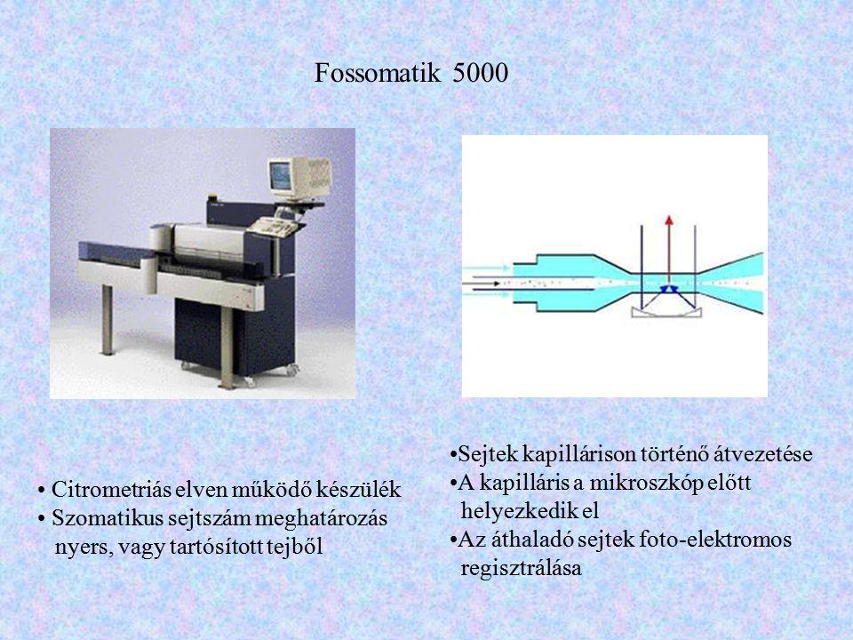 Fossomatik 5000 • Citrometriás elven működő készülék • Szomatikus sejtszám meghatározás nyers, vagy tartósított tejből •Sejtek kapillárison történő át