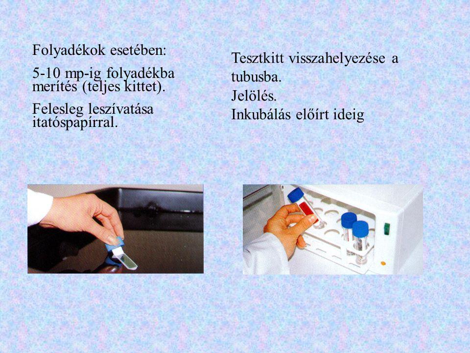 Mini VIDAS (ELFA) •Elődúsítás, szelektív dúsítás •1-1 cm 3 15 min hőkezelés (100°C) •500 µl a mérőcsík első cellájába Vizsgálat: •mosás, •reakció az enzimmel •fluoreszcencia mérés (4-metil- umbelliferil-foszfát) Eredmények: •Vizsgálati minta és a hitelesítő (standard) minta fluoreszcencia értékeinek összehasonlítása --> RFV=Relative Fluorescence Value •Összehasonlítás a küszöbértékkel: > v.