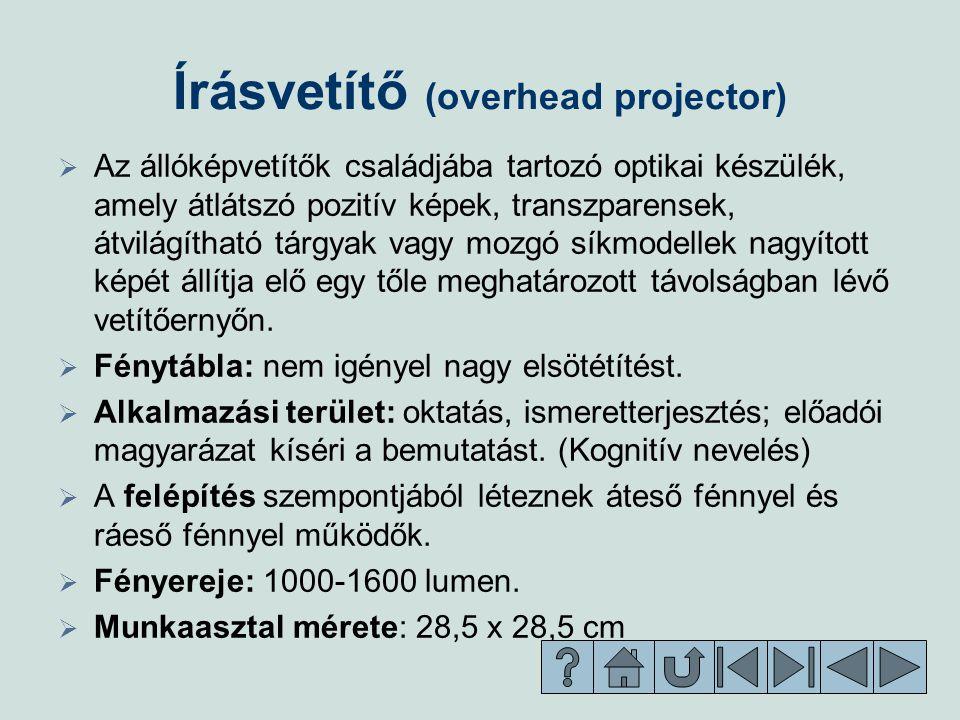 Írásvetítő (overhead projector)   Az állóképvetítők családjába tartozó optikai készülék, amely átlátszó pozitív képek, transzparensek, átvilágítható