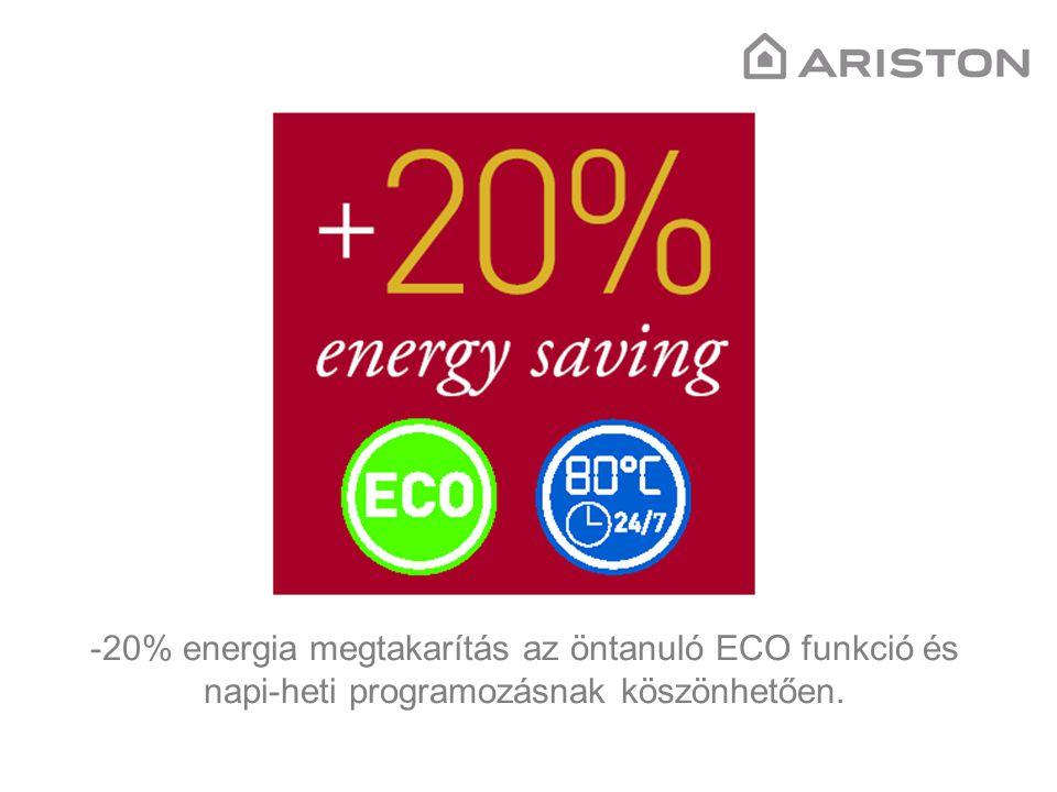 -20% energia megtakarítás az öntanuló ECO funkció és napi-heti programozásnak köszönhetően.