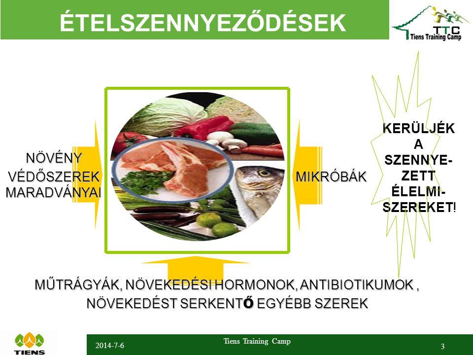 2014-7-6 Tiens Training Camp 3 ÉTELSZENNYEZŐDÉSEK NÖVÉNY VÉDŐSZEREK MARADVÁNYAI MŰTRÁGYÁK, NÖVEKEDÉSI HORMONOK, ANTIBIOTIKUMOK, NÖVEKEDÉST SERKENT Ő EGYÉBB SZEREK KERÜLJÉK A SZENNYE- ZETT ÉLELMI- SZEREKET.
