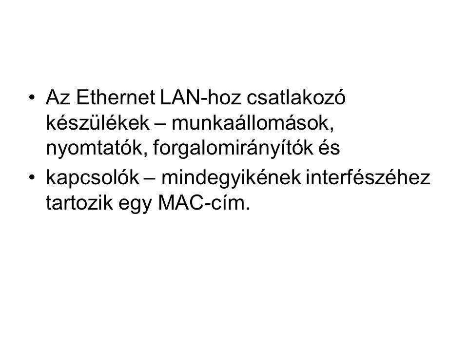 •Az Ethernet LAN-hoz csatlakozó készülékek – munkaállomások, nyomtatók, forgalomirányítók és •kapcsolók – mindegyikének interfészéhez tartozik egy MAC-cím.