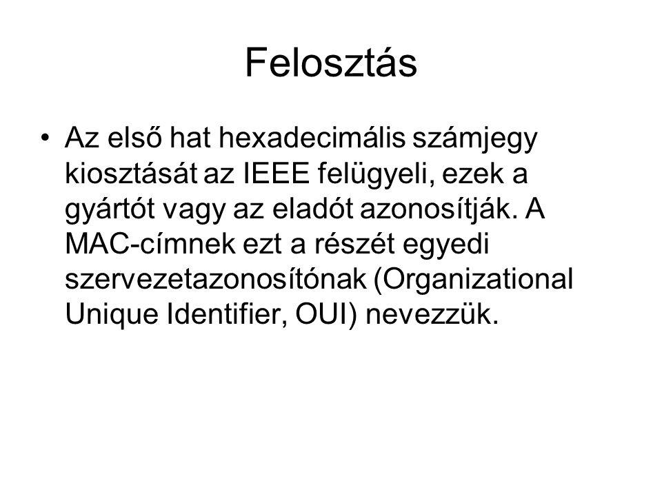 Felosztás •Az első hat hexadecimális számjegy kiosztását az IEEE felügyeli, ezek a gyártót vagy az eladót azonosítják.