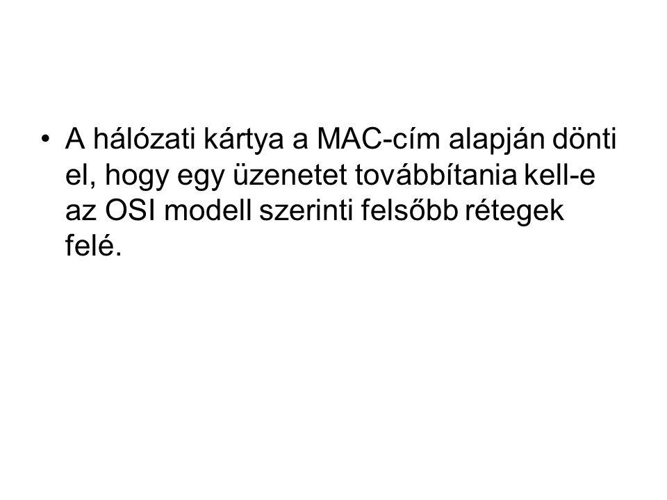 •A hálózati kártya a MAC-cím alapján dönti el, hogy egy üzenetet továbbítania kell-e az OSI modell szerinti felsőbb rétegek felé.