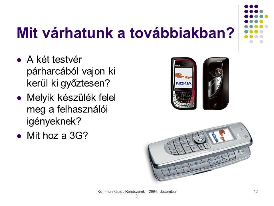 Kommunikációs Rendszerek - 2004.december 8. 12 Mit várhatunk a továbbiakban.