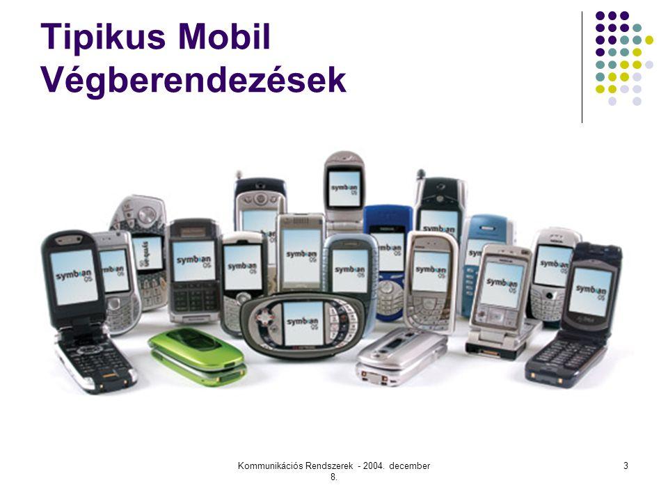 Kommunikációs Rendszerek - 2004. december 8. 3 Tipikus Mobil Végberendezések